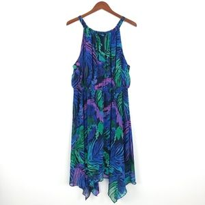 Lane Bryant   Palm Leaf Elastic Waist Dress Blue